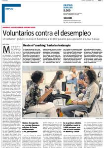 Participación de forma voluntaria en el evento Prepárate (2012). recorte de prensa publicado por La Vanguardia